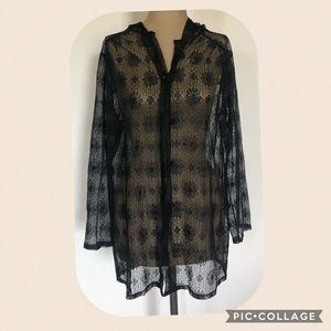 Sheer Black Lacy Swim Coverup